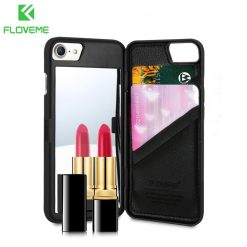 FLOVEME Mirror Case For iPhone 6 6s 7 Plus Wallet+Card Slot Cover Makeup Phone Cases For Apple iPhone 8 X 7 Plus 10 Woman Coque -  - iphone-case