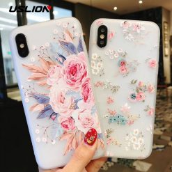 USLION Flower Silicon Phone Case For iPhone 7 8 Plus Rose Floral Leaves Cases For iPhone X 8 7 6 6S Plus 5 5S SE Soft TPU Cover -  - iphone-case
