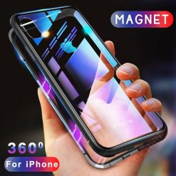 360 Magnetic Adsorption Case + Tempered Glass Back Cover for iPhone X 8 Plus 7 6 6S -  - iphone-case