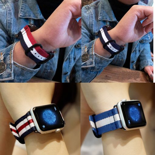 Nylon Sport Leather Bracelet 42 mm 38 mm Strap For iwatch Band Series 3/2/1 -  - iwatch-brands