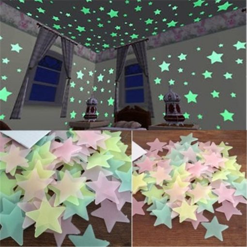 50pcs 3D Stars Glow In The Dark Wall Stickers Luminous Fluorescent Wall Stickers -  - home-garden
