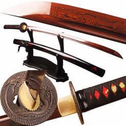 SJ Samurai Sword Red Damascus Foled Steel Blade Japanese Katana Sword Battle Ready Espada Practical Sharp Knife Samurai Cosplay -  - others