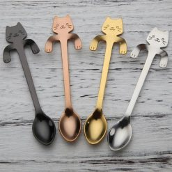 Cute Cat Teaspoons Stainless Steel Cartoon Cat spoons Creative Ice Cream Dessert Long Handle Coffee&Tea Spoon Tableware Colors -  - home-garden