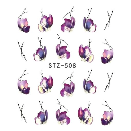 Set Flower Water Transfer Nail Stickers -  - beauty