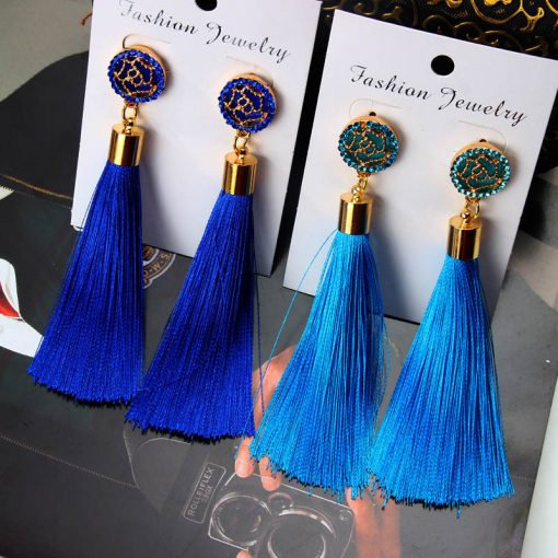 Bohemian Women's Crystal Tassel Earrings -  - jewelry-accessories
