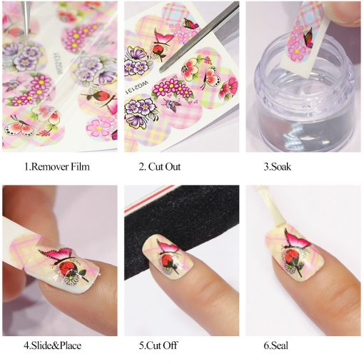 Geometric Cartoon Animal Nail Stickers -  - home-garden
