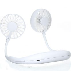 Small Portable Neck Band Fan With Dual Fan USB Rechargeable -  - gadget