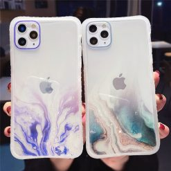Gradient Marble Texture Glitter Phone Case For iPhone 11 11Pro Max XR XS Max X 6S 7 8 Plus 11Pro SE 2020 Transparent Back Cover -  - iphone-case